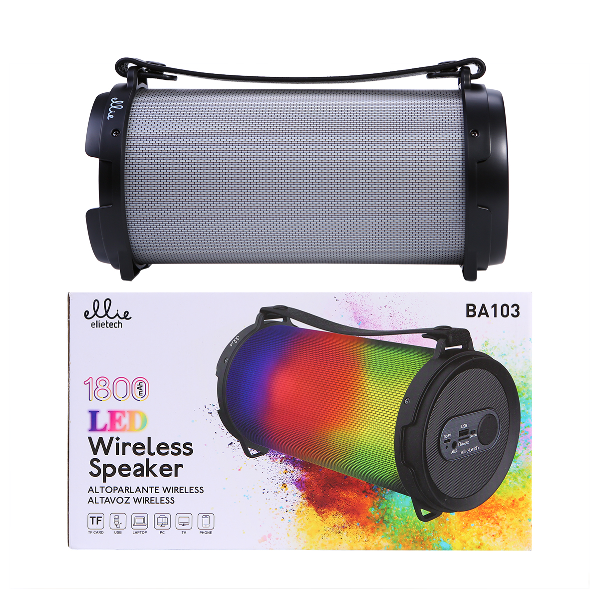 Ellietech BA103 Altavoz Wireless 1800mAh LED