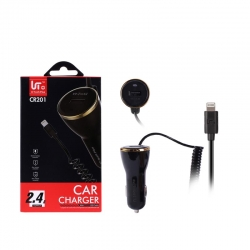 LT Tech Plus CR201 Cargador del Coche 2.4A con iPhone USB Cable | Cargador del Coche