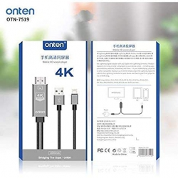Onten 7519 Cable iPhone Lightning a HDMI 4K UHD 1.8M | HDTV Cable