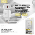 Ellietech CD610 Adaptador Cargador de Pared 2 en 1 USB + Tipo C PD 20W QC3.0 SIN CABLE NOVEDAD